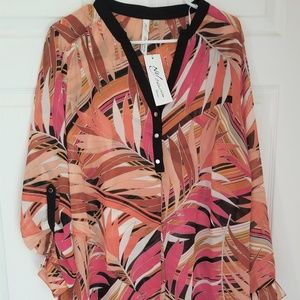 NY Collection Sheer Blouse NWT Size 2X
